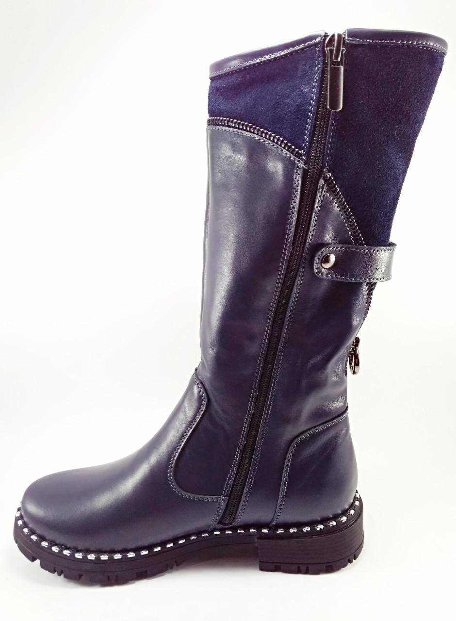 Взуття для дівчат  Чоботи зимові шкіряні темно-сині 30-38 05bfa19500084